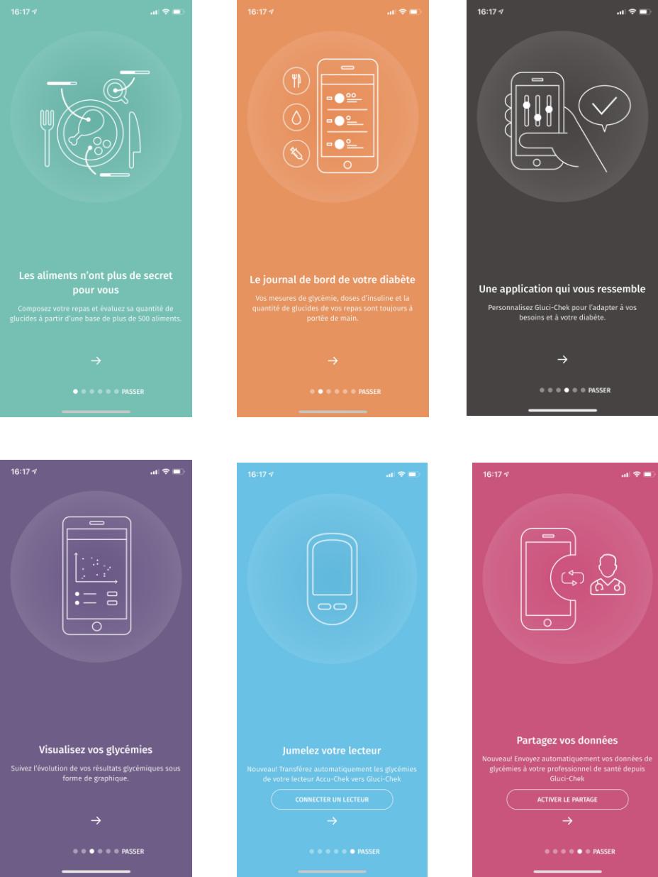écrans de présentations de l'app Gluci-Chek
